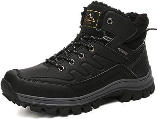 BETOOSEN Winter Men's Outdoor mid Waterproof Hiking Boot Fur Lining Warm Walking Shoes Backpacking Trekking Trails