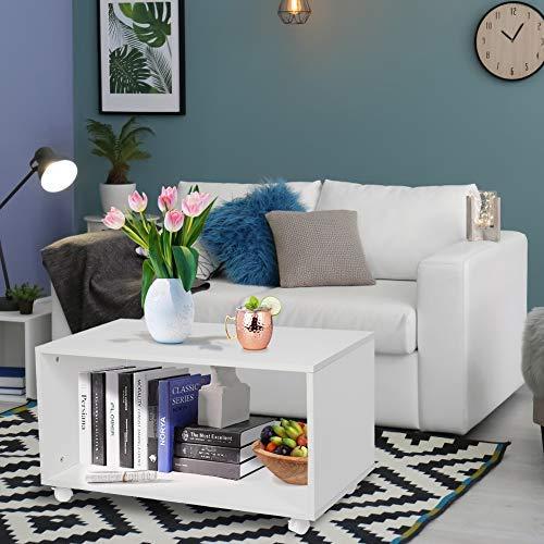 N/A Couchtisch mit Rollen Beistelltisch Weiß Wohnzimmer Tisch Modern Sofa Tisch mit Ablage Couchtisch Holz Wohnzimmer Möbel Lowboard Möbel Möbel für Wohnzimmer Büro