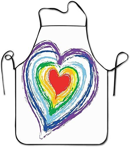 Not Applicable Waist Love Valentines temáticas Corazón anidado del Arco Iris con un Delantal de Obra de Arte Vibrante y simplista Delantal de Cocina Unisex para cocinar Hornear Limpieza de jardinería