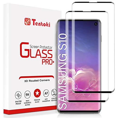 Tentoki Verre Trempé pour Samsung Galaxy S10, [Lot de 2] Couverture Complète Film Protection Ecran Vitre HD, [Déverrouillage des empreintes digitales à l'écran Compatible] pour Samsung Galaxy S10