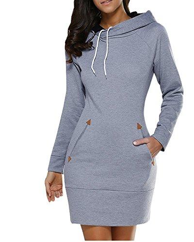BUIBIU Women's Long Sleeve Cotton Slim Fit Midi Hoodie Dress with Pocket Gray XL
