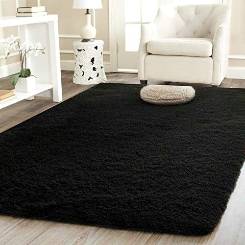 Shaggy Rugs Living Room Large Fluffy Rug For Bedroom Extra Large Small Medium Rectangular Size Soft Touch Living Room Area Mats ​Pile Height 36MM / 3.6CM (Black, 160 x 230 CM (5 ft 3 in x 7 ft 7 in))