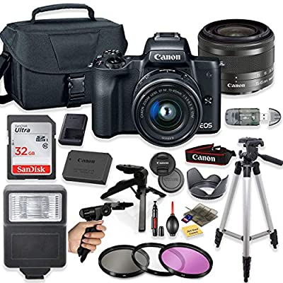"Canon EOS M50 Mirrorless Digital Camera (Black) with 15-45mm STM Lens + Deluxe Accessory Bundle Including Sandisk 32GB Card, Canon Case, Flash, Grip Multi Angle Tripod, 50"" Tripod, Filters and More. from Canon"