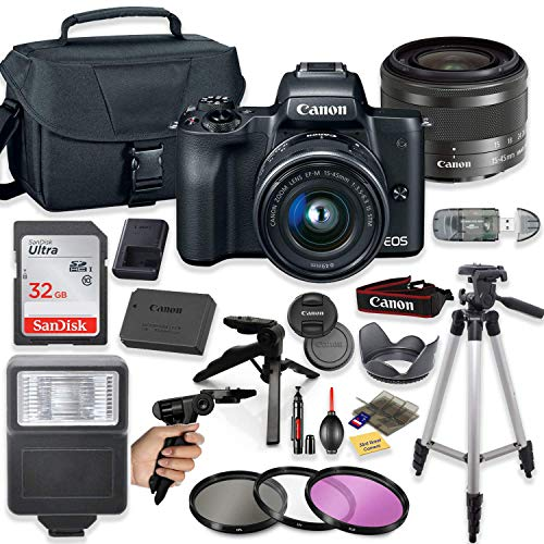 "Canon EOS M50 Mirrorless Digital Camera (Black) with 15-45mm STM Lens + Deluxe Accessory Bundle Including Sandisk 32GB Card, Canon Case, Flash, Grip Multi Angle Tripod, 50"" Tripod, Filters and More."
