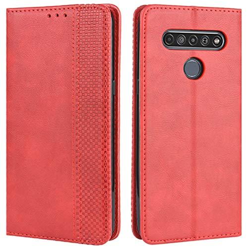 HualuBro Handyhülle für LG K41S Hülle, Retro Leder Stoßfest Klapphülle Schutzhülle Handytasche LederHülle Flip Hülle Cover für LG K41S Tasche, Rot