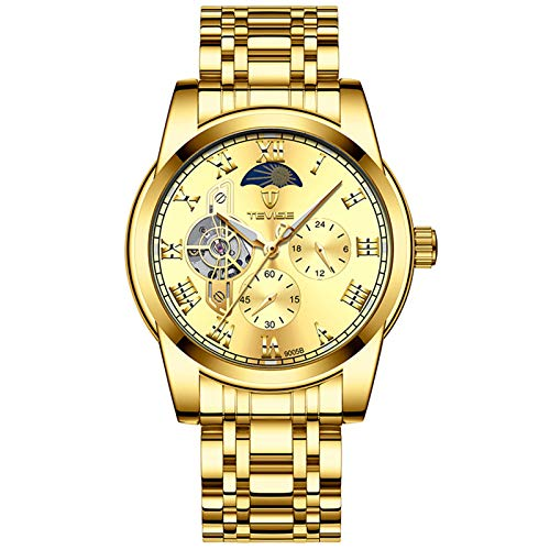 QZPM Hombres Mecánico Relojes Acero Inoxidable Bracelet Roman Number Multifunción Impermeable Luminosa Analógico Business Relojes,Oro