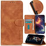 YOUKIT Samsung Galaxy A20 Phone Wallet Case, Luxury Vintage Matte Soft Leather Flip Stand Protective Cover Shell with Card Slot and Cash Pocket for Samsung Galaxy A20 Case (Brown, Samsung Galaxy A20)