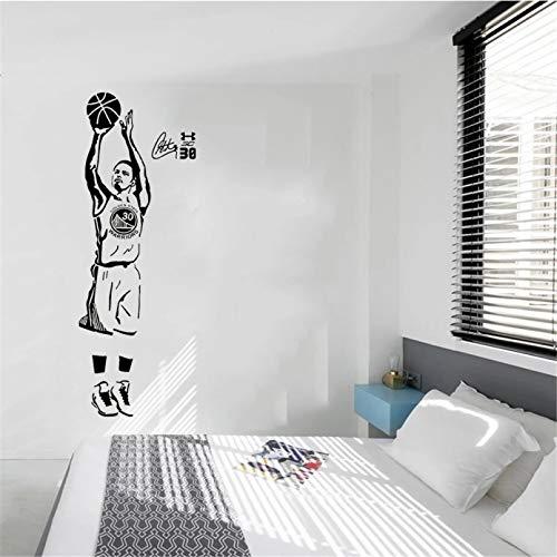 Calcomanías de pared para jugadores de baloncesto de estrellas deportivas, pegatinas de Stephen Curry para la habitación del niño y la escuela, pasta fácil con extraíble