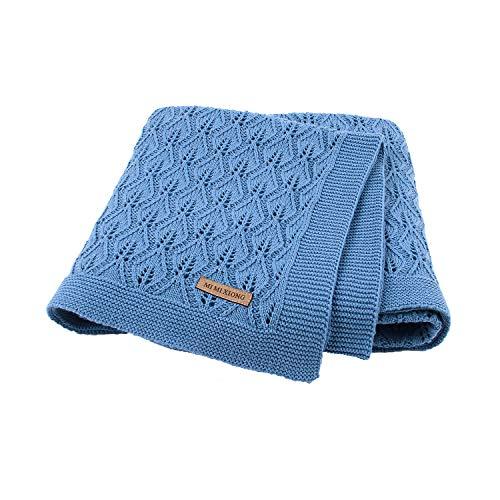 Taotigzu Babydecke Baumwolle 80 x 100 cm, kuschelige Strickdecke Swaddle Empfangen Decken,Vielseitig Nutzbare Baby Wolldecke als Kinderwagendecke (Denim Blue)