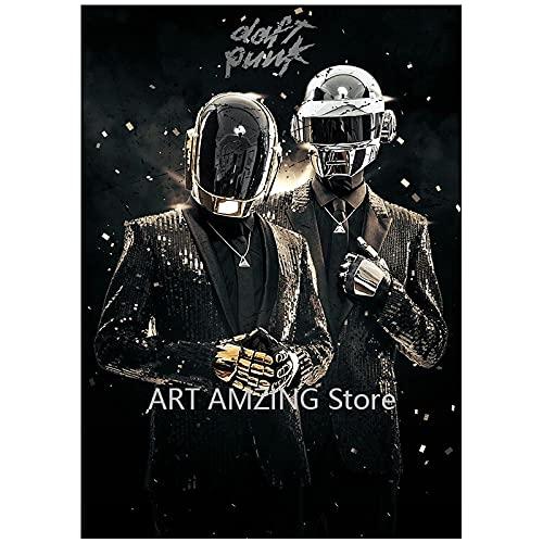SGYY Daft Punk póster fotográfico Casco máscara música póster e impresión Lienzo Arte Pintura Fotos de Pared para Sala de Estar decoración del hogar 60x80cm sin Marco