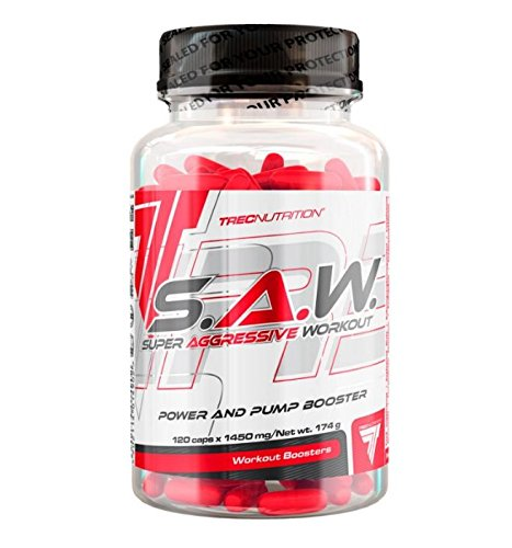 Trec Nutrition S.A.W. Powder 120 Caps Ultra-Concentrated PRE_Training Formula Muscle, Strength Super ANABOLIC Workout Saw Power, Stamina and Vascularity