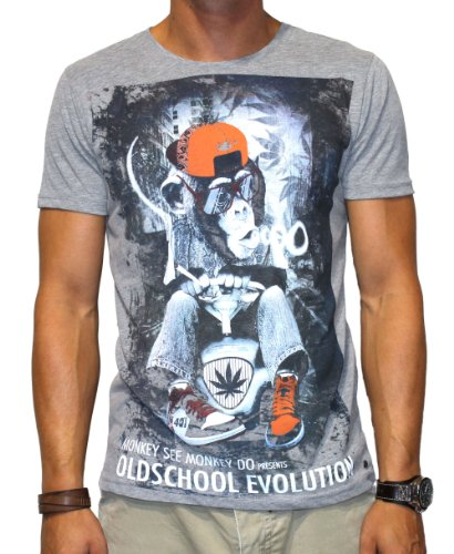 40by1, Herren T-Shirt, Bobby Monkey, Oldschool Evolution, Street Couture, Grey Melange, 40/1-GAS-12-026-neu, GR XXL