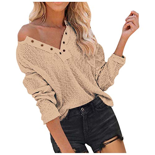 Dosoop Women's V Neck Machine Eye Breasted Knit Pocket Tops Solid Color Casual Long Sleeve Pullover Sweater Blouses
