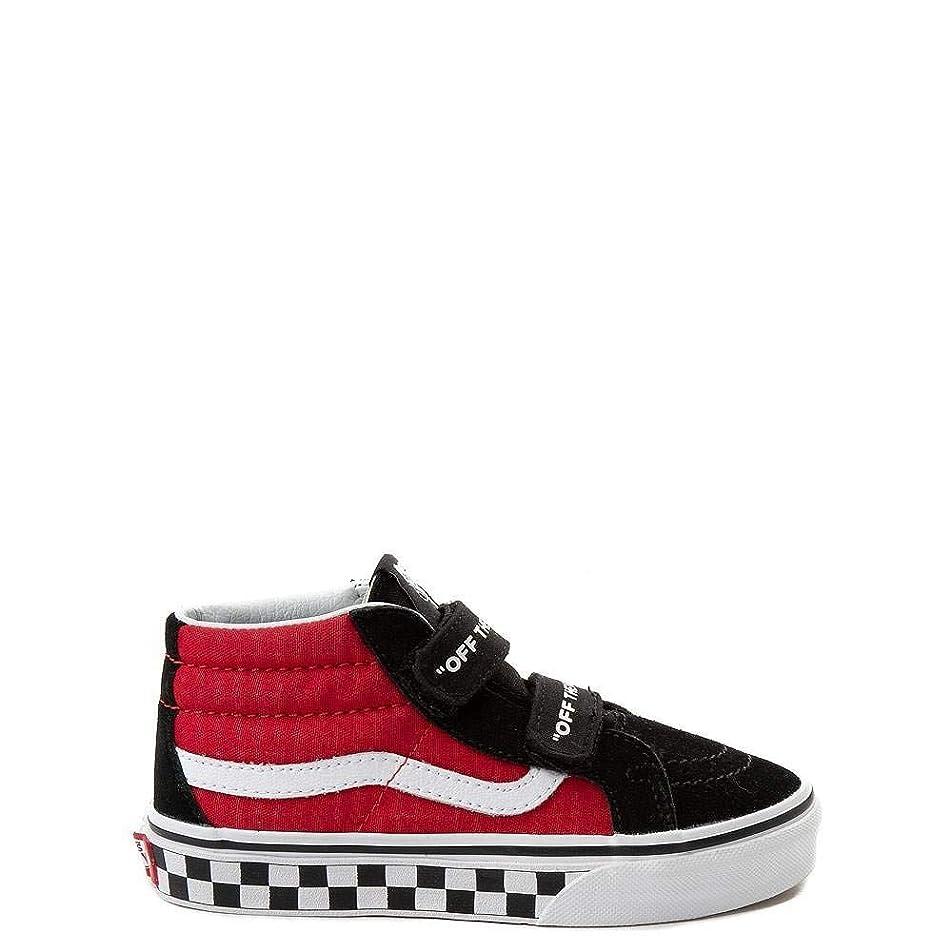 モルヒネドレス債務者[バンズ] 靴?シューズ スニーカー Sk8 Mid Reissue V Logo Pop Skate Shoe - Little Kid ブラック/レッド US 13 (19cm) [並行輸入品]