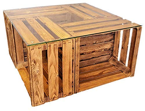daves redesign Tisch aus Weinkisten auf Rollen mit Glasplatte geflammt Altholz Couchtisch Shabby Chic Vintage Tisch aus Obstkisten