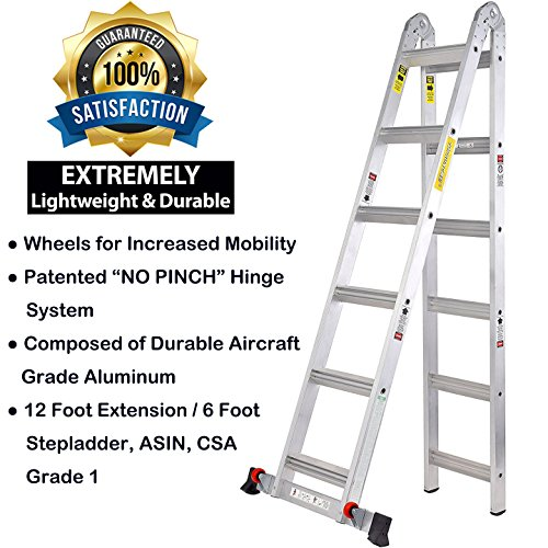 Toprung 12ft 2in1 Aluminum Extension Ladder Multi Purpose Step Ladder With Bulit In Wheels 300lbs Duty Rating Buy Online In Andorra At Desertcart