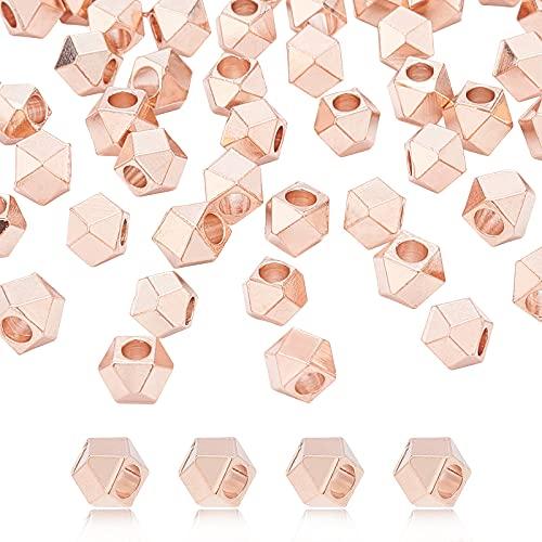 PandaHall 60 Cuentas espaciadoras de latón facetadas de 5 mm de Oro Rosa Cuadrados de latón espaciadores de Cubo de Metal Cuentas Sueltas para joyería Pulsera Collar Hacer, Bricolaje Hecho a Mano