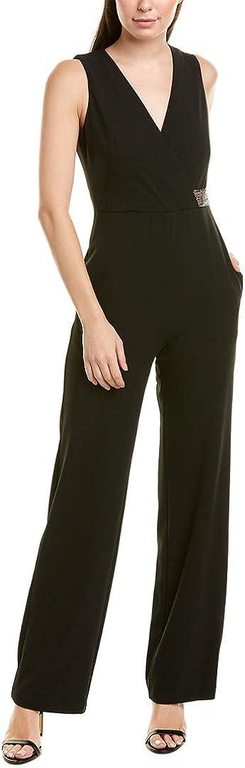 Donna Morgan Women's Stretch Crepe Sleeveless Faux Wrap Jumpsuit