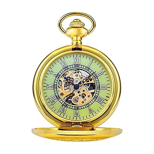 yuyan Reloj de Bolsillo, Relojes de Bolsillo de Cuarzo mecánico de dial de la Vendimia, adecuados como un cumpleaños, Aniversario, Regalo del Día del Padre