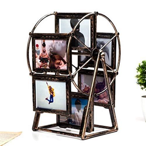 Herramientas de cocina / hogar Creative Plastic Rotating Photo frame 5 Photo Retro Ferris Wheel Windmill Photo Frame (Blanco), Lugar: Escritorios y mostradores for invitados, dormitorios y otros.
