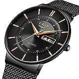 LIGE Herren Uhren Ultra Dünne Schwarze Minimalistische Quartz mit Datumsanzeige Armbanduhr Männer...