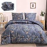 Floral Comforter Set Navy Blue Bedding Set Gold Birds Butterfly Flowers Duvet Set Boys Girls Adults Queen Bedding Comforter Set with 2 Pillowcases (Blue, Queen)