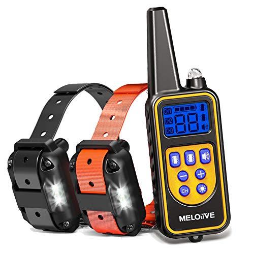 Meloive Collar de Adiestramiento Dos Perros, Recargable y Resistencia al Agua de IP67 con un Alcance de 800m con 99 Niveles de Modo de...