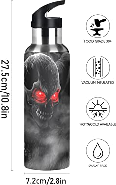 Yasala Water Bottle Horror Skull Graveyard Coffee Thermos Stainless Steel Insulated Beverage Container 20 oz with Straw Lid B