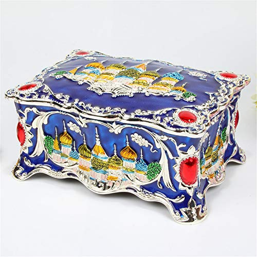 joyeros,Joyero de castillo de estilo europeo, caja de almacenamiento de joyería de esmalte multicapa de alta gama-azul