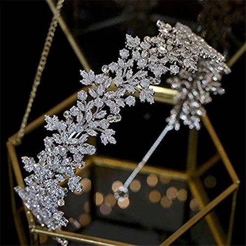 Zfwlkj Hairpin crystal bride headband hair wedding hair accessories tiara crown (Metal color : Red-0)