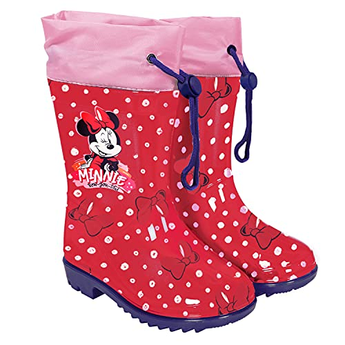 PERLETTI Botas de Agua Niña Minnie Mouse con Lunares - Calzados de Lluvia Niñas Disney Minni con Suela Antideslizante - Botas Impermeables Rojos Cierre con Cordón Material PVC (Rojo, Numeric_24)