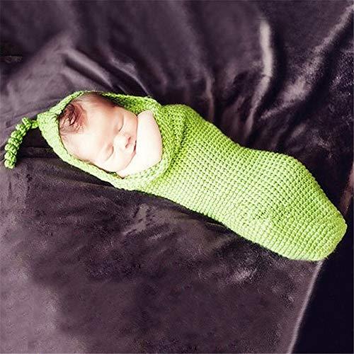 YzDnF Photographie Tenue Infantile Main tricoté Lait Coton Laine Chapeau bébé Photographie Vêtements Laine (Color : Green, Size : One Size)