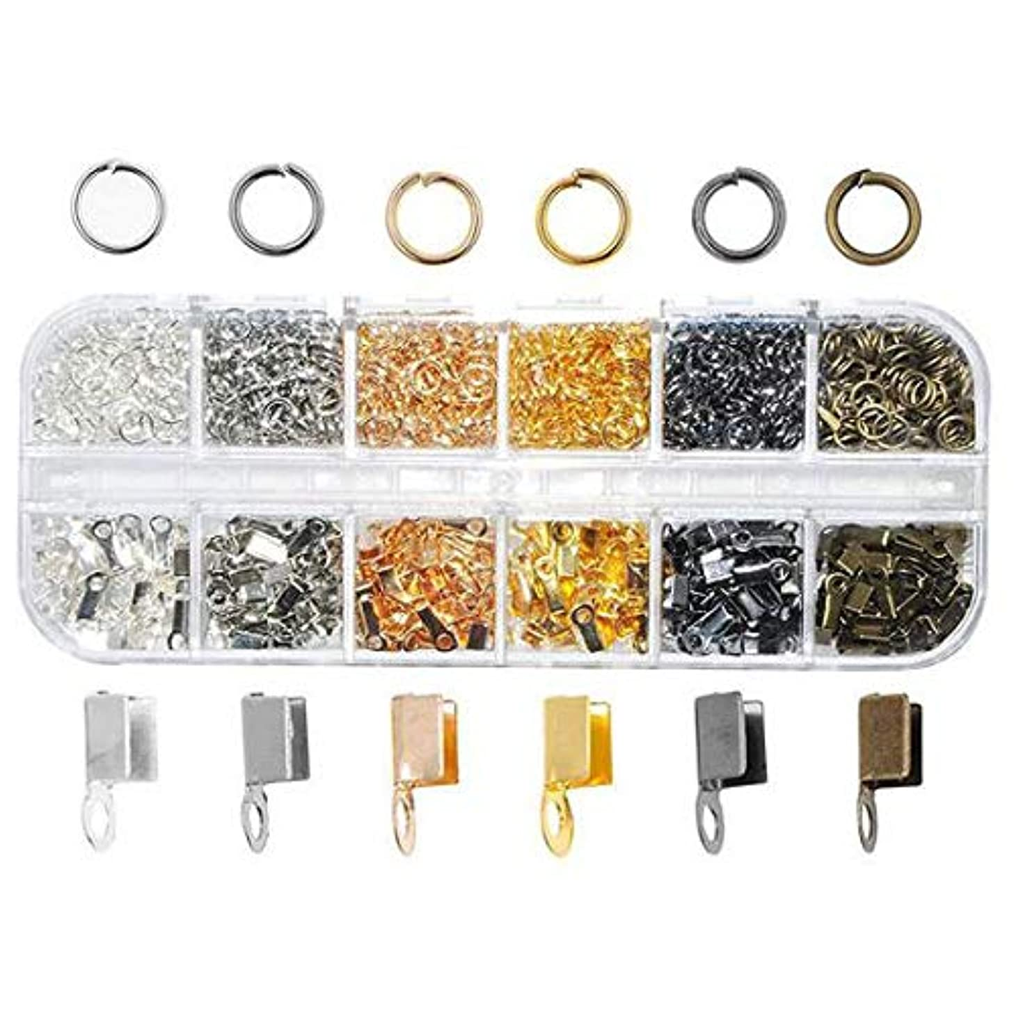 1080 pcs 6 Colors 3mm Cord Ends and 6 Colors 5 mm Open Jump Rings for Jewelry Making Jewelry Findings Set