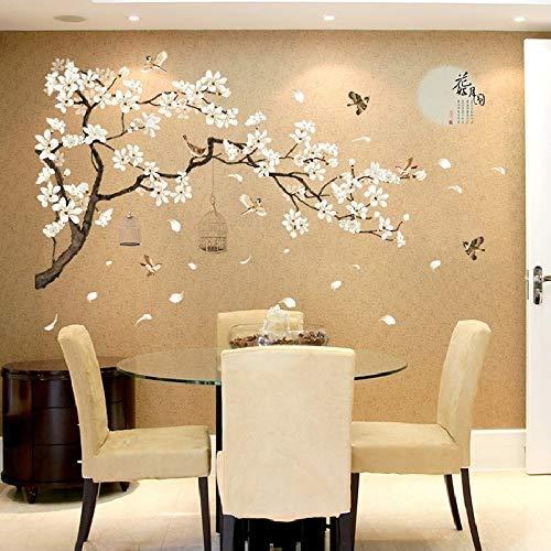 YANJ Aufkleber-Wand-Aufkleber Chinese Wind Mond Vogelkäfig-Blumen-Anlage Schlafzimmer, Wohnzimmer, Fenster-Tür-Raum Dekoration Gartenmauer Removable DIY Wand-Plakat