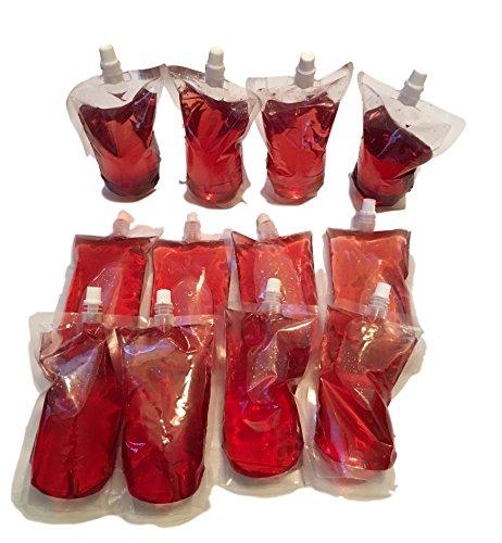 12 x 0,5 liter drinkflessen, opvouwbare flessen, drinkzak voor water, sap, alcohol, enz. - bewaren container camping - portioneren - waterzak - lekvrij en herbruikbaar