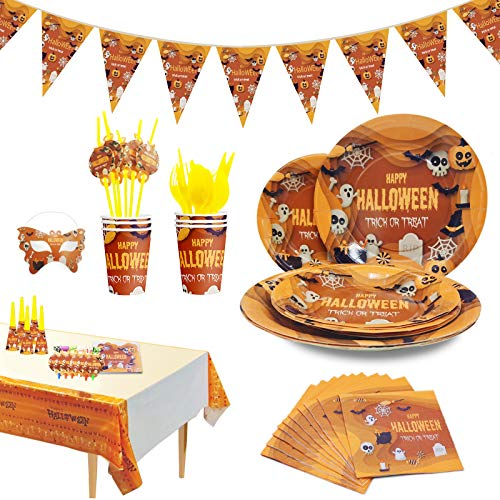Halloween Party Supplies for kids – Perfect Halloween Party Supplies Pack for Spooky Halloween Themed Parties, Disposable Tableware Kit for 6 People, includes 78 pieces of party accessories
