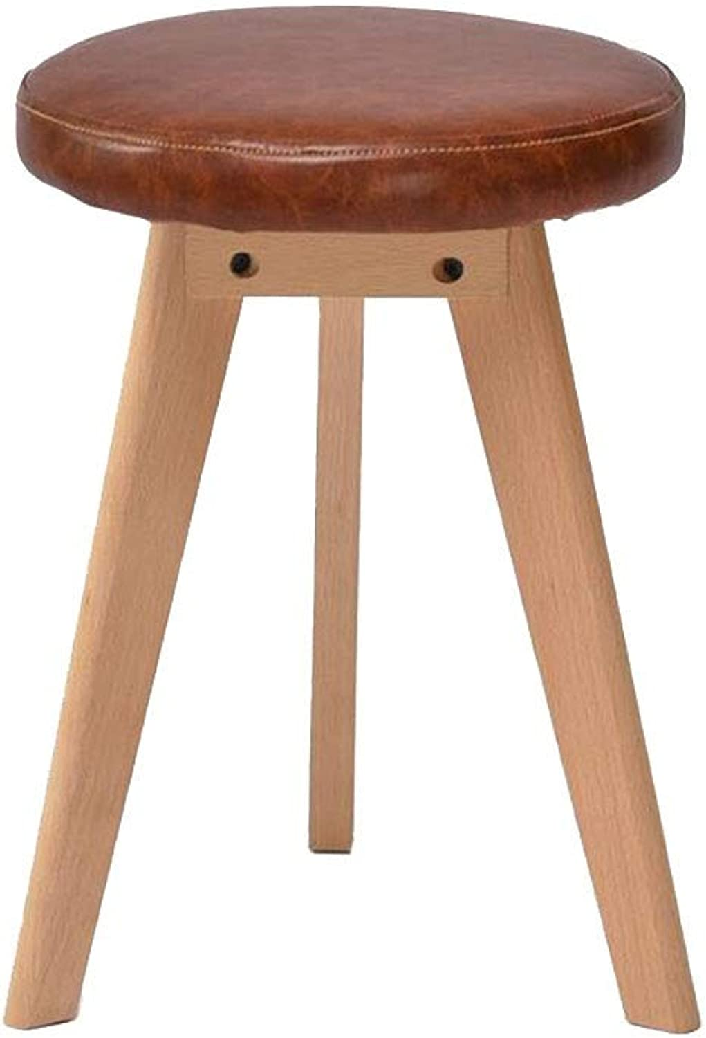 YCSD 45cm High Solid Wood Dining Stool Faux Leather Upholstered Makeup Stool Small Bench,for Study Living Room Bedroom (color   05)