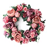 LASPERAL Peony Wreath Artificial Flower Door Wreath with Green Leaves Spring Wreath for Front Door Decor, Wedding, Wall, Home Decor