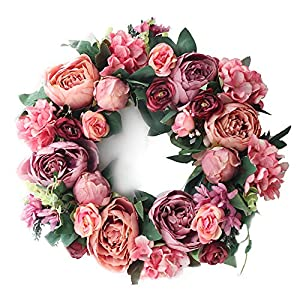 LASPERAL Artificial Peony Flower Wreath – 15″ Pink Flower Door Wreath with Green Leaves Spring Wreath for Front Door, Wedding, Wall, Home Decor