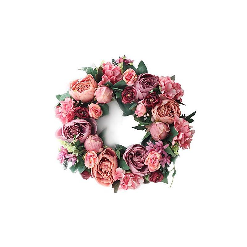 "silk flower arrangements lasperal artificial peony flower wreath - 15"" pink flower door wreath with green leaves spring wreath for front door, wedding, wall, home decor"