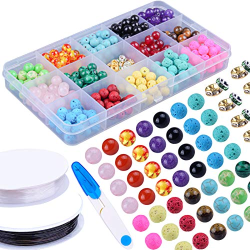 Colle 333Pcs Lava Beads Kits for DIY Bracelet Necklace Jewellery Making with Colorful Chakra Beads Lava Rock Stone Beeds Volcanic Gemstone Spacer Beads with 2 Rolls Elastic Bracelet String