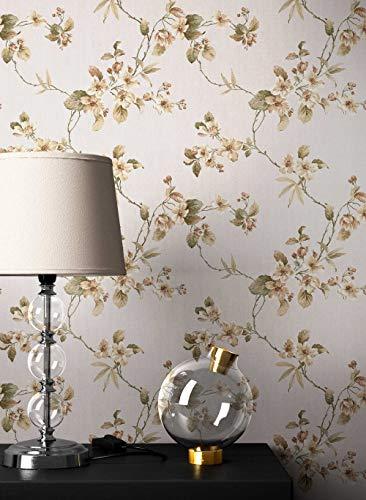 NEWROOM Blumentapete Tapete beige Blumen Blätter Landhaus Vliestapete Vlies moderne Design Optik Klassik inkl. Tapezier Ratgeber