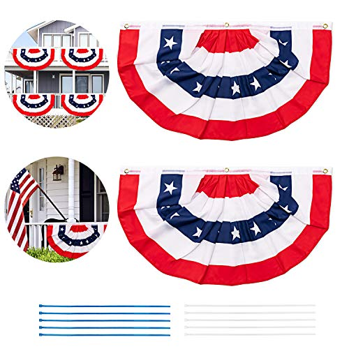 2 Pack Patriotic American Bunting Banner with 10 Zip Ties, USA Pleated Fan Flag Stars & Stripes with...