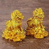 LGYKUMEG EIN Paar Feng Shui Qilin Dekorativer Reichtum, Skulpturen Dekoration Handwerk, Statue Ornamente Home Office Storefront Handkraft Harz Geschenk,2pcs,9 * 6.5 * 10cm