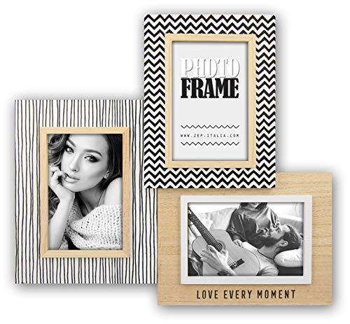 ZEP S.r.l. Olivier houten fotolijst, hout, natuur/zwart-wit, voor 3 foto's 10 x 15 cm