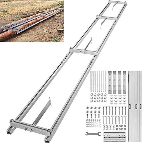 VEVOR Chainsaw Mill Rail Guide, 9 ft Milling Guide, 3 Crossbar Kits Rail Mill Guide System, Aluminum Saw Mill Rail System Work with Chainsaw Mills, with Chainsaw Sharpening Vise and Work Gloves.