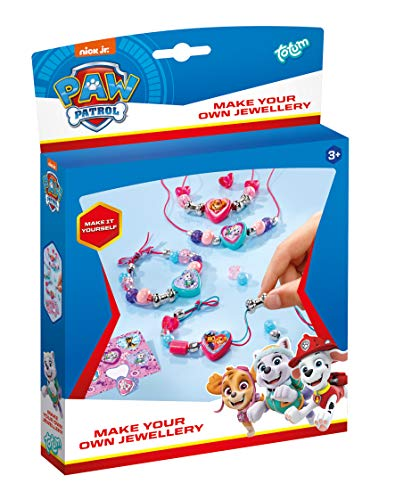 Paw Patrol Schmuck-Set basteln mit 3 farbigen Bändern, Motivperlen, Perlen in Herzform, Metallperlen in Knochenform, silbernen Perlen, Motiv-Sticker – TM Essentials 720091
