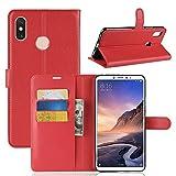 Guran Funda de Cuero PU para Xiaomi Mi MAX 3 Smartphone Función de Soporte con Ranura para Tarjetas Flip Cáscara Magnético Caso - Rojo