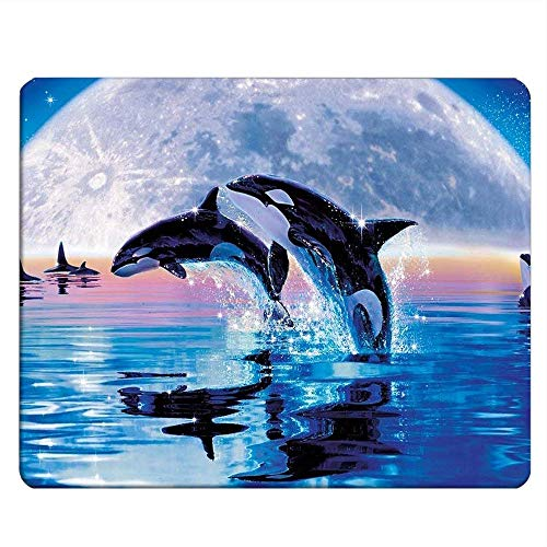NICOKEE Whales Rectangle Gaming Mousepad Killer Whales Jump Out of Ocean with Full Moon Mouse Pad Mouse Mat for Computer Desk Laptop Office 9.5 X 7.9 Inch Non-Slip Rubber