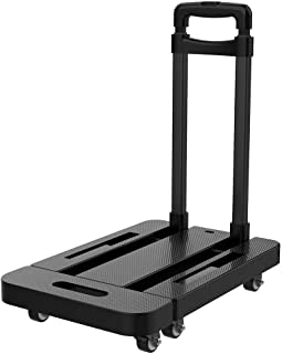 Upgraded Multifunctional Folding Hand Truck Dolly with Carrying Capacity up to 440LBS. 6 Wheels, 360 Rotating Platform Collapsible Trolley Cart for Shopping, Moving, Travelling, Auto and Office Use.